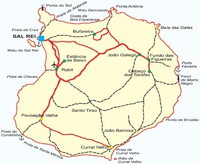 Map Of Boa Vista Island - Cape verde map