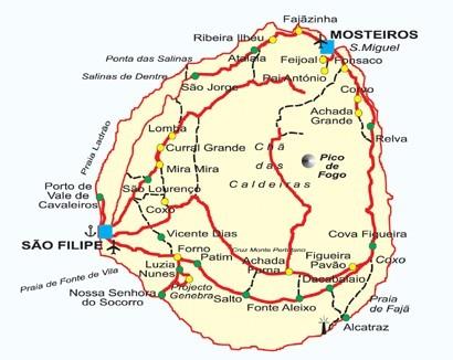 Cape Verde Islands Map of Fogo Island
