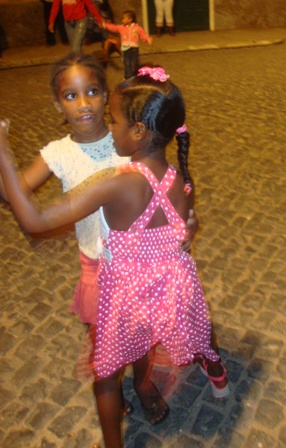 Young girls dancing to the music